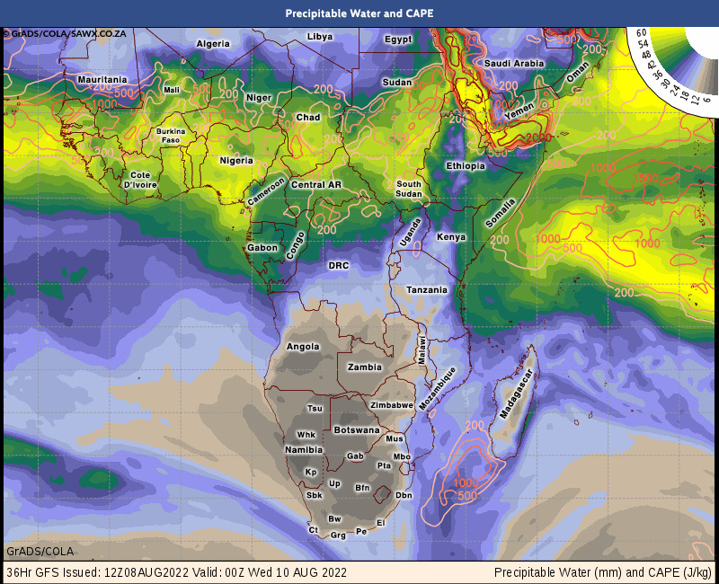 7 Day Gfs Weather Map Pictures Forecast And Outlook For Africa