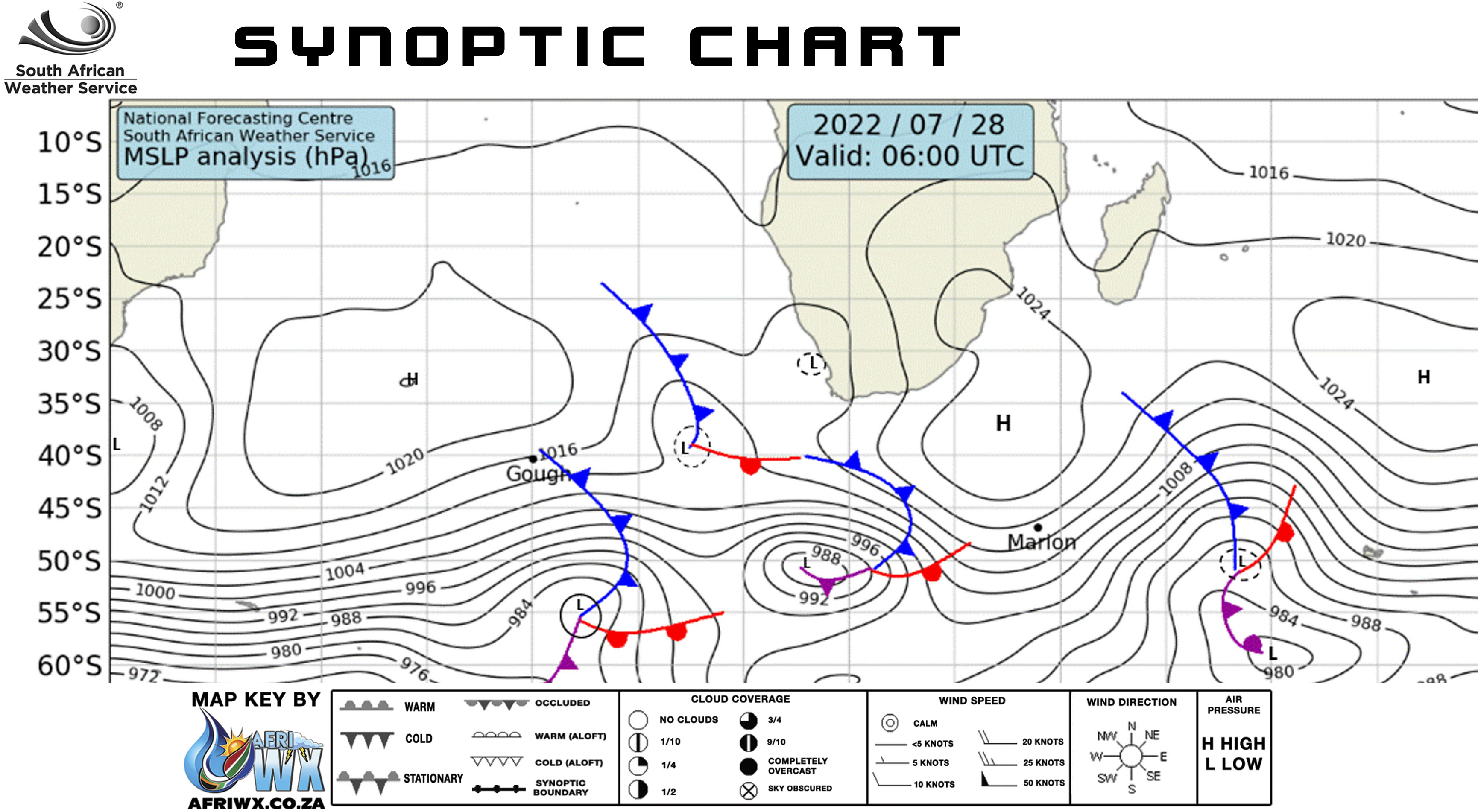Synoptic Weather Chart For South Africa From Sa Weather Service