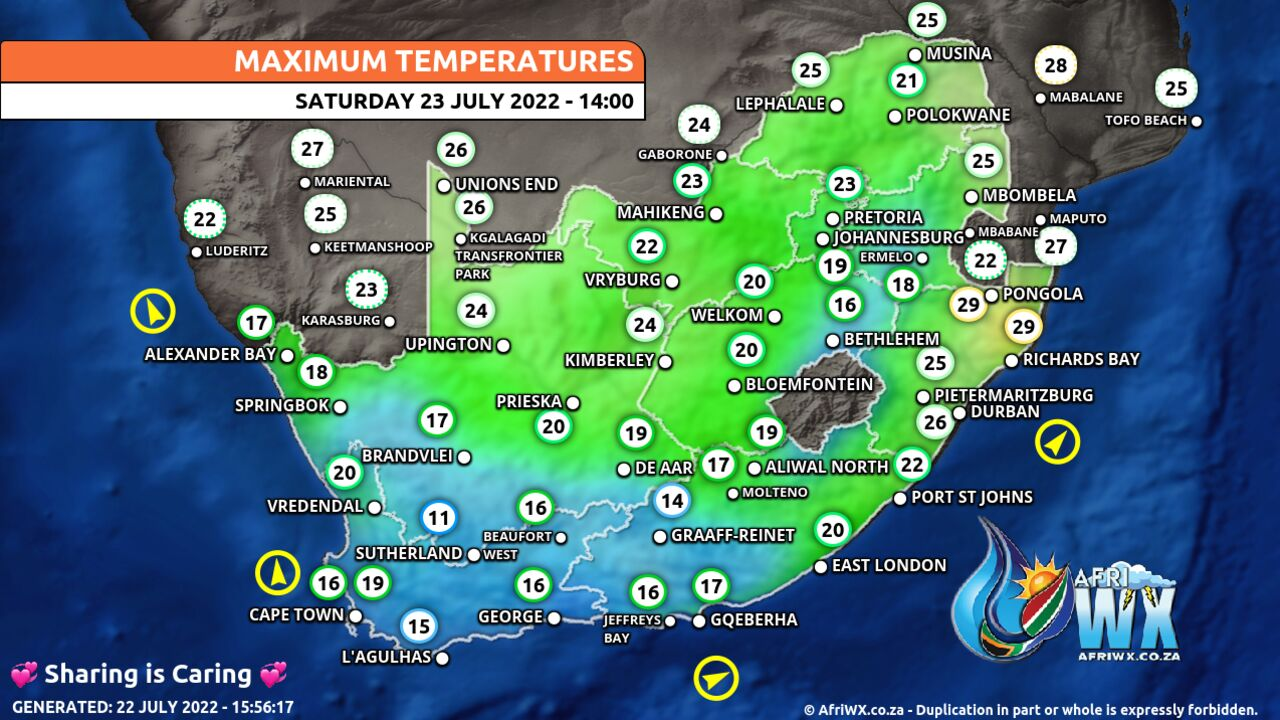 South Africa Extended Weather Report - Maximum and Minimum ...