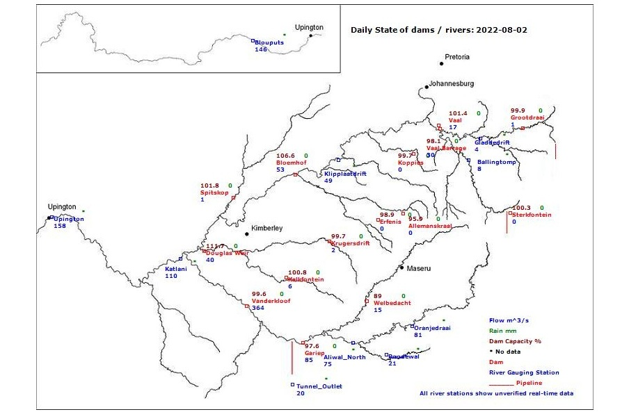 Map Of South Africa Showing 9 Provinces.The State Of Dams In South Africa Dam Reservoir Levels Summary
