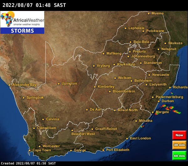 Realtime Weather Map.Radar Storms Lightning Strikes Weather Maps For South Africa