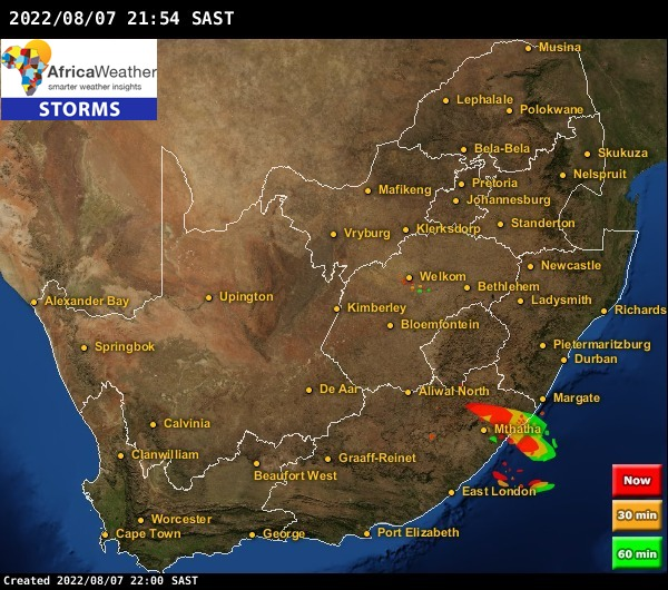 Radar Storms & Lightning Strikes Weather Maps for South Africa