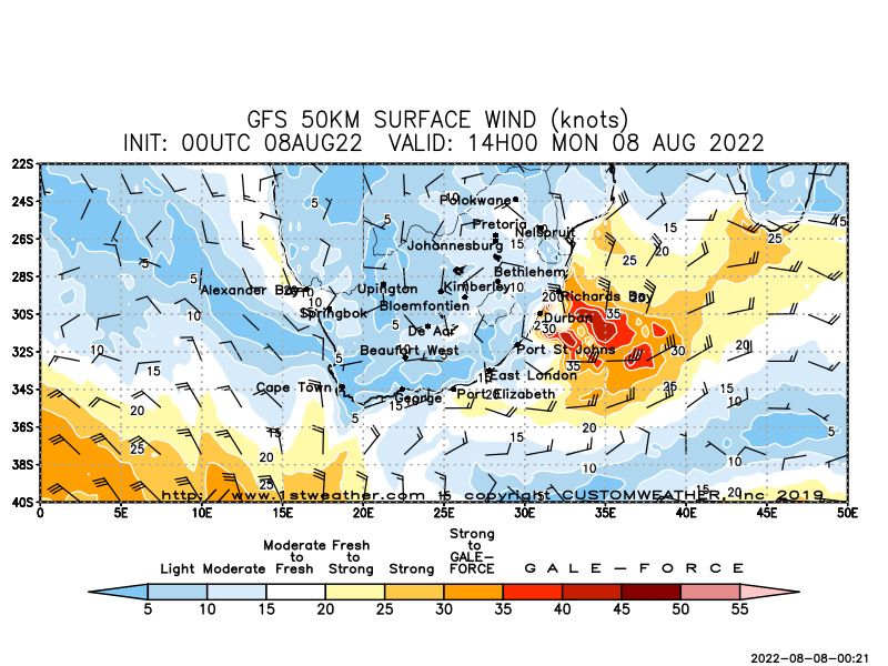 Gfs 50km Surface Wind Map South Africa