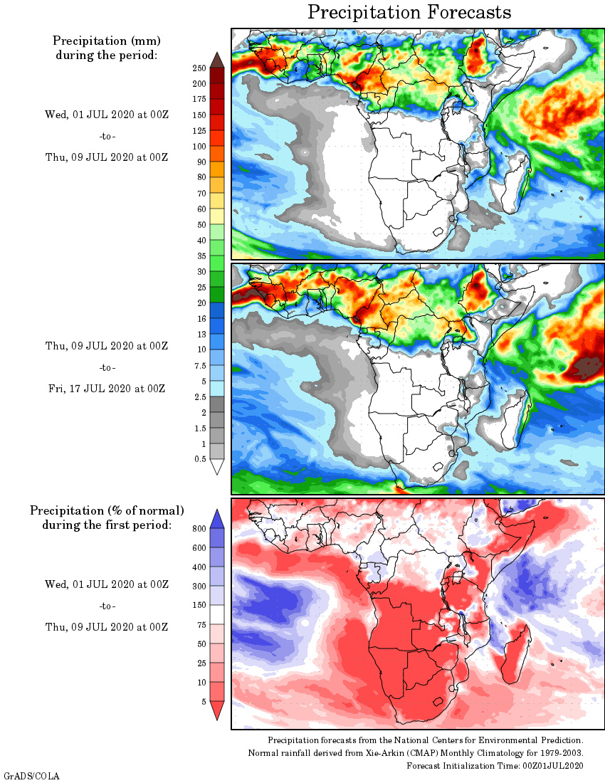 1-2 Week 14 Day GFS Rainfall / Precipitation Outlook for South ...